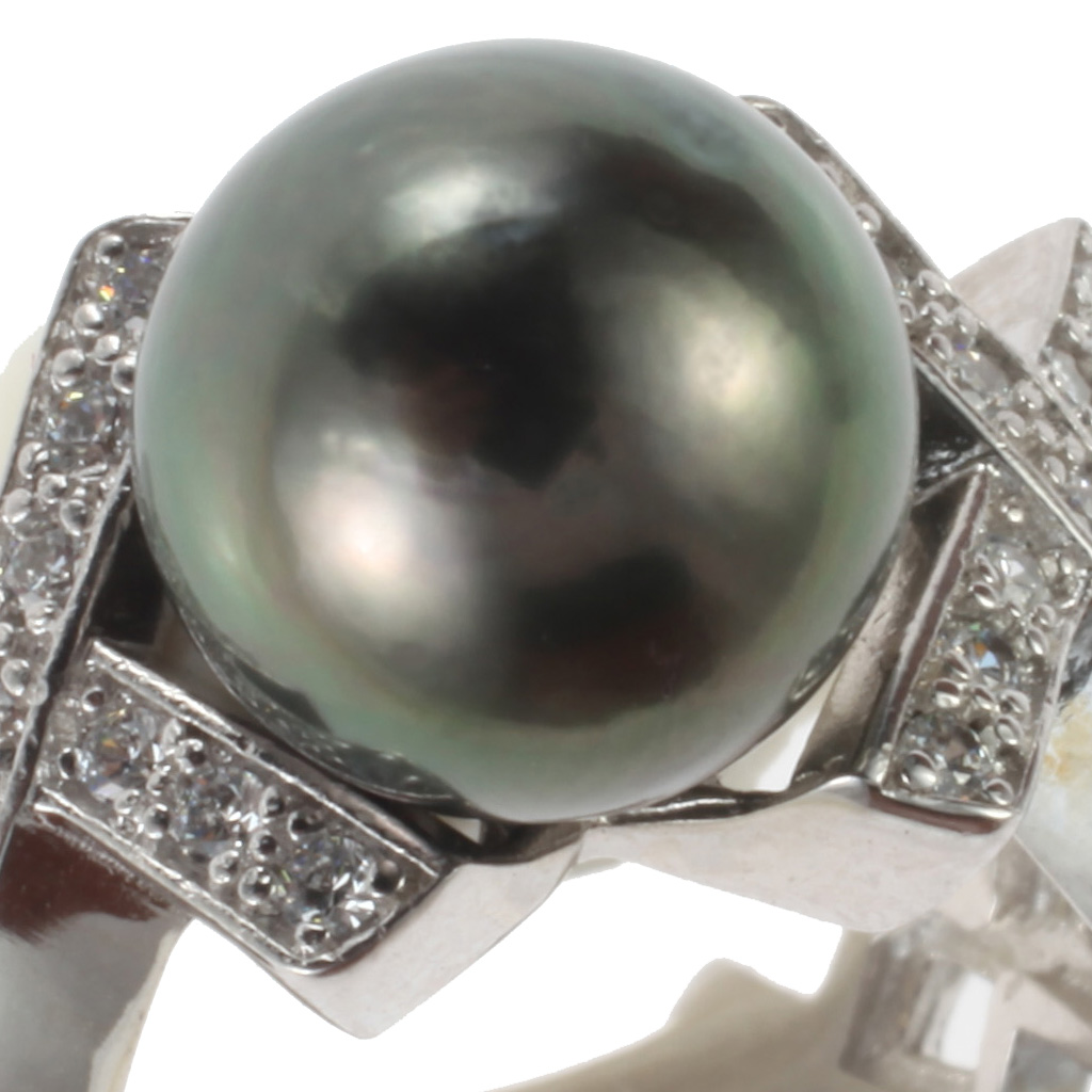 bague en argent perle de tahiti oxyde de zirconium. Black Bedroom Furniture Sets. Home Design Ideas