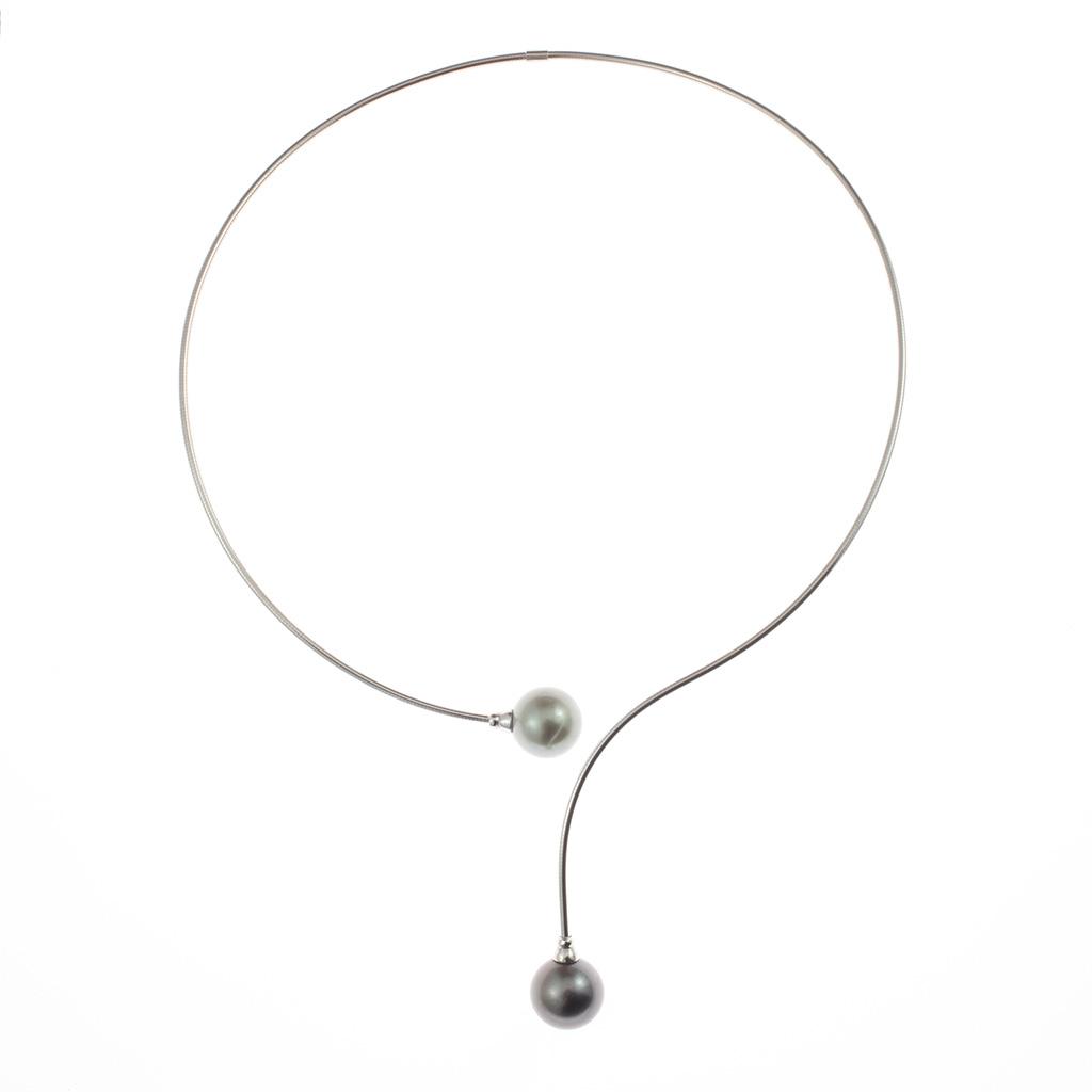 Toi Et Moi Cable En Argent Semi Rigide Avec 2 Perles De Tahiti