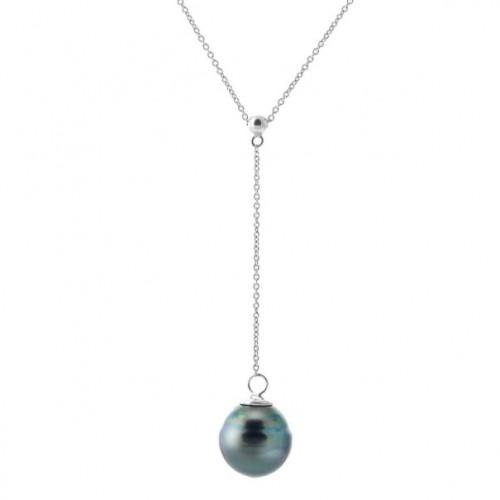 collier en argent avec une perle de tahiti. Black Bedroom Furniture Sets. Home Design Ideas